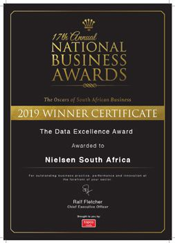 Nielsen wins the Data Excellence Award at the 17th National Business Awards in SA