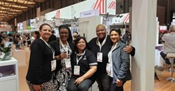 From left to right: Beverly Farmer from Women in Wine, Malmsey Rangaka from M'Hudi Wines, Denise Stubbs from Thokozani, Sheila Hlanjwa from Lathitha Wines, and Carmen Stevens from Carmen Stevens Wines at the recent ProWine China.