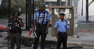 Police officers are seen near Lagos, Nigeria, on September 3, 2019. Journalists in Kogi and Bayelsa states reported being harassed and threatened during recent elections. Credit: CPJ/Reuters/Temilade Adelaja.