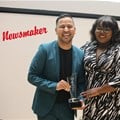 Jacaranda FM's Renaldo Schwarp receives the Koker Youth Award at the Afrikaanse Taalraad (ATR) Koker Awards. Image supplied.