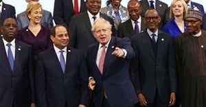 British Prime Minister Boris Johnson (centre) with a host of African leaders at the UK Africa Investment Summit in London. EPA-EFE/Hollie Adams