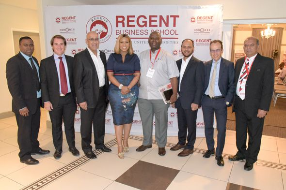 RBS Pre-Budget Discussion 2020 - Johannesburg. From left to right: Vikesh Rampadarath (Associate Director – RBS); Mr Emile du Plessis (Senior Economist - Standard Bank); Mr Ashraf Garda (Media Host, Radio Presenter - SAfm); Ms Samke Mhlongo (Founder and Chief Executive of TNC Wealth Partners); Dr Samododa Fikeni (Political Analyst); Prof. Ahmed Shaikh (MD - RBS); Dr Martyn Davies (MD of Emerging Markets- Deloitte); Prof. Dhiru Soni (Director: Research & Innovation - RBS)