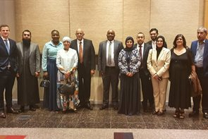 Professor Yusuf Karodia, the founder of distance learning institutions Mancosa and Regent Business School (fifth from left) with his entourage