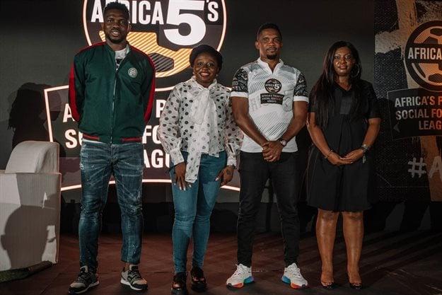 Trophy Ambassador – Joseph Yobo, Marketing Director International Buweries Nigeria – Ms Tolulope Adedeji; Africa 5s Campaign Ambassador – Samuel Eto'o & Castle Lager Brand Director – Ms Kudzi Mathabire during the 2020 Africa 5s Media Launch in Lagos Nigeria.