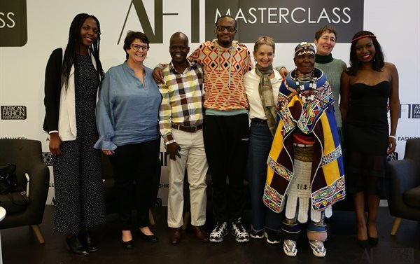 AFI Sustainability Masterclass panel. From left to right: Solophina Nekesa, Tracey Chambers, Isaac Mokwana, Laduma Ngxokolo, Jackie May, Dr Esther Mahlangu, Dr Erica de Greef and Vere Shaba.