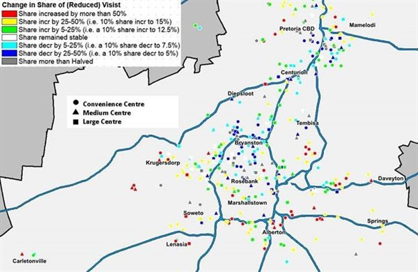 Map shows changes in share of visits to shopping centres in the greater Johannesburg region. Source: Lightstone