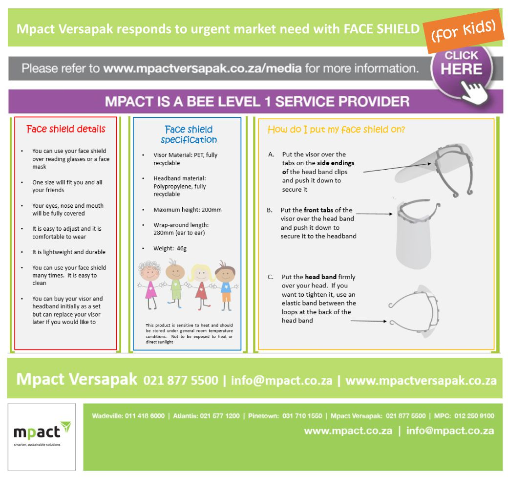 Mpact Versapak is 'school ready': New face shield for kids