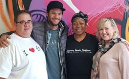From left to right: Marcel Sapet, Dane Maxwell, Gcina Mhlophe, Zelda Schwalbach