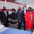 Eastern Cape Premier Oscar Mabuyane, Rev. Dr Elizabeth Mamisa Chabula-Nxiweni, Minister of Health Dr Zweli Mkhize, VWSA Chairman and Managing Director Thomas Schaefer, Eastern Cape MEC of Health Sindiswa Gomba, and Nelson Mandela Bay Business Chamber CEO Nomkhita Mona.