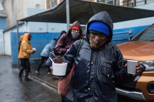 """Michael Williams said that he has been receiving food from """"Danny"""" for five years. He said that he has been homeless for 20 years and sleeps outside near a train station. He said that the food distribution is really helpful """"especially when there's nothing to eat""""."""