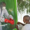 A man undergoes testing for Covid-19 at the University of Maiduguri Teaching Hospital isolation centre, Nigeria. Audu Marte/AFP via Getty Images