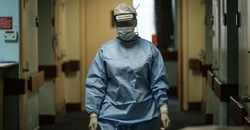 A nurse participates in the drill to test their system capabilities for the Covid-19 coronavirus mass patients influx at the Aga Khan University Hospital in Nairobi.