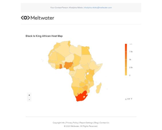 African heat map on Black Is King social media mentions between 28 June and 15 August 2020