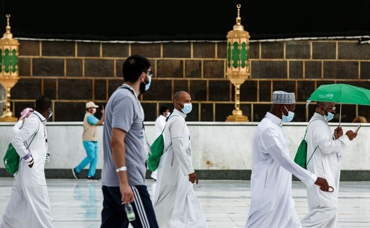 Social distancing around the Kaaba in Mecca during this year's hajj.
