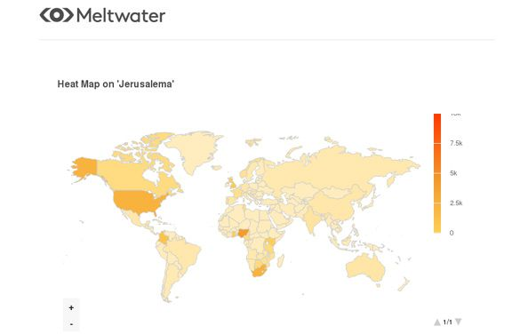 Global heat map for social media mentions on 'Jerusalema' between 1 January and 9 July 2020