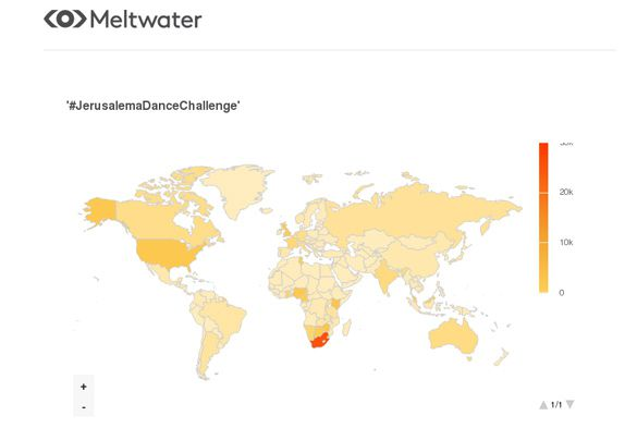 Global heat map on social media mentions for '#JerusalemaDanceChallenge' between 1 January and 10 September 2020