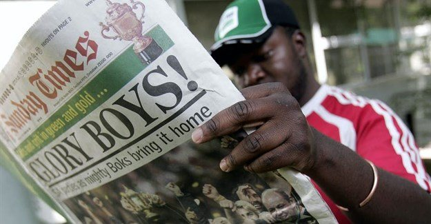 The Sunday Times, South Africa's largest weekend newspaper, was used to spread disinformation. Gianluigi Guercia/AFP via Getty Images.