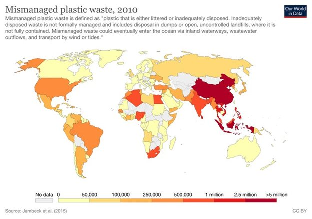 Developing countries have some of the highest rates of plastic waste mismanagement. ,