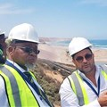Minister of Mineral and Energy Resources Gwede Mantashe and Australian mining boss Mark Caruso during the minister's visit to the Tormin mineral sands mine on the West Coast in February 2019. Photo: John Yeld
