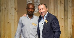Luyanda Hlatashwayo, reclaimer with the African Reclaimers Organisation, and Luc-Olivier Marquet, EVP Unilever South Africa.