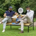 Baba Tjeko, Lauren Colin Mitchell's 'wet paint' social distance benches donated to the Johannesburg Botanical Gardens