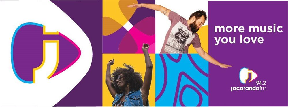 Jacaranda FM design, imagery, and colour application to their new Visual Identity