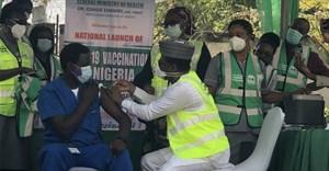 Dr Cyprian Ngong, a staff member of National Hospital, Abuja, receives Covid-19 vaccine. Adam Abu-basha/Anadolu Agency via Getty Images