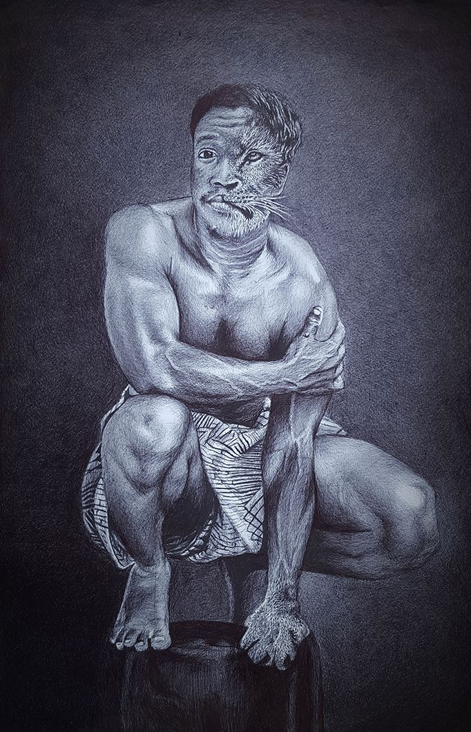 Winner of 2019 BIC Art Master Africa - 'Black Lion' by Fatou Aboudou from Benin