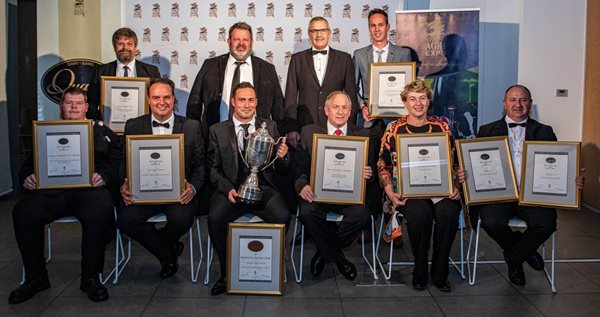 Qualité winners from the front, L to R: Donovan van Rooyen (Famous Brands), Johan Boshoff (Fair Cape Dairies), Juan de Bruin (Lactalis South Africa), Bruce Rowbotham (Fairview Cheese), Estelle du Preez (De Pekelaar) and Francois Colyn (Clover). Back L to R: Philip Hanekom (Lactalis South Africa), Dr. Tertius Cilliers (Synercore), Johan Ehlers (Agri-Expo) and Johan Rheeders (Lactalis South Africa)