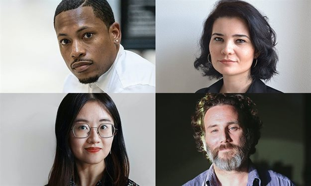 Harvard GSD's 2021 Wheelwright Prize finalists (clockwise from top left): Germane Barnes, Iulia Statica, Luis Berríos-Negrón, and Catty Dan Zhang. Image: Harvard GSD