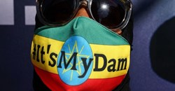 """Ethiopian protestors march down 42nd Street in New York during a """"It's my Dam"""" protest on March 11, 2021. Photo by TIMOTHY A. CLARY/AFP via Getty Images"""