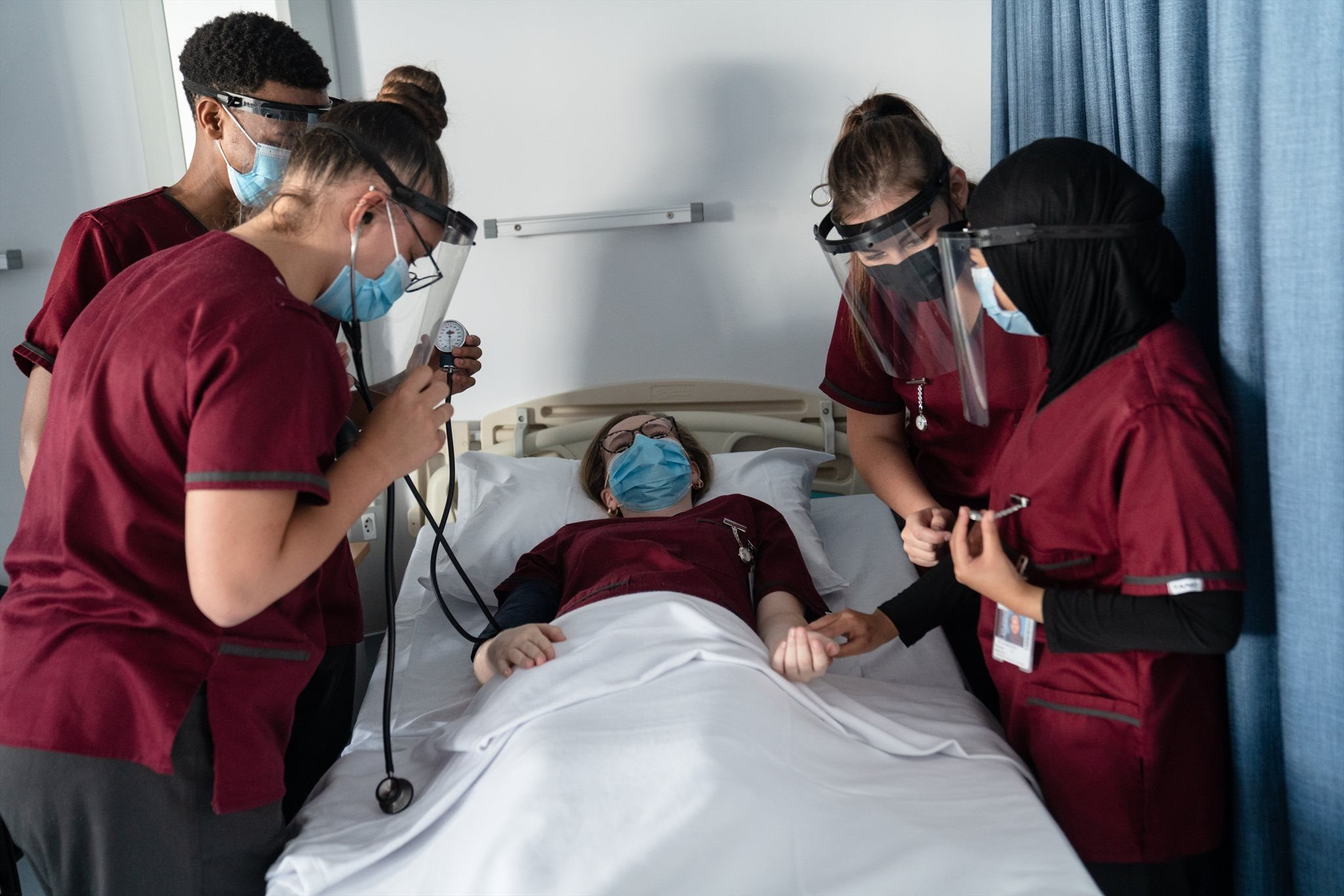 Nursing students practice checking vital signs<br>Image: Supplied