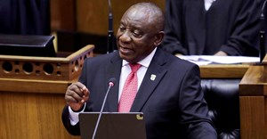 President Cyril Ramaphosa delivers his State of the Nation address in parliament in Cape Town, South Africa, February 11, 2021. Esa Alexander/Pool via Reuter/File Photo