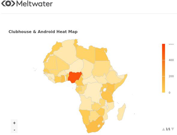 African Heat Map of 'Clubhouse' and 'Android' Social Media Mentions between 1 May and 12 May 2021