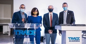 (From L-R) Trace co-founder and executive chairman Olivier Laouchez, French Minister Elisabeth Moreno, Thierry Verdel is the Rector of Senghor University, Carl Bernadac, Deputy Regional Director of AFD.
