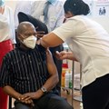 South African Health Minister Zweli Mkhize receives the Johnson and Johnson coronavirus disease (Covid-19) vaccination at the Khayelitsha Hospital near Cape Town, South Africa, February 17, 2021. Gianluigi Guercia/Reuters