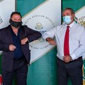 Neil Wilkinson, managing director at Kryolan South Africa, and Barry Hendricks, Sascoc president