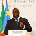 African Union president and president of Congo Democratic Republic Felix Tshisekedi speaks during a joint news conference at the end of the Summit on the Financing of African Economies in Paris, France May 18, 2021. Ludovic Marin/Pool via Reurters//File Photo