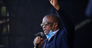 Suspended ANC general secretary Ace Magashule speaks after former South African president Jacob Zuma appeared in the High Court in Pietermaritzburg, South Africa, 26 May, 2021. Reuters/Rogan Ward