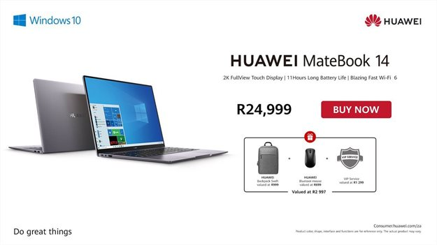 The Huawei MateBook 14 offers an 11-hour 'no charger required' user experience