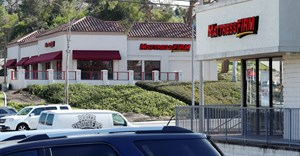 Two Mattress Firm stores, a brand owned by Steinhoff, are shown on either side of the street in Encinitas, California, US. Source: Reuters/Mike Blake