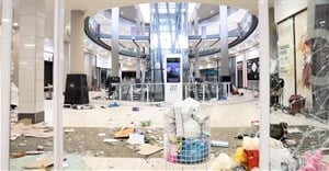 A screen grab taken from a video shows the damage inside a shopping mall following protests. Source: Courtesy Kierran Allen/via Reuters