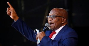 Former South African President Jacob Zuma, who is facing fraud and corruption charges, sings after his appearance in the High Court in Pietermaritzburg, South Africa, May 26, 2021. Reuters/Rogan Ward/File Photo