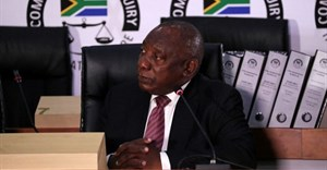 South African President Cyril Ramaphosa appears to testify before the Zondo Commission of Inquiry into State Capture in Johannesburg, South Africa, August 11, 2021. REUTERS/ Sumaya Hisham
