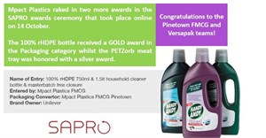 Mpact Plastics ropes in two Sapro awards