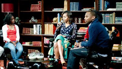 Michelle Obama answers questions at MTV Base Meets Michelle Obama taping - credit Leeroy Jason