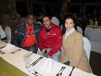 Sagren Pather, Mohammed Rasool and Bellinda Carreira, all from Standard Bank, relax for dinner in the gazebo.