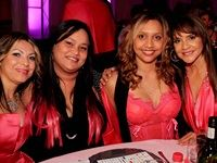 Looking glamorous in pink, Michelle Scheepers, Janine Yon, Haroldene Gradidge and Emperors Palace Human Resources Manager, Ann Gradidge at the annual PinkDrive Pink Tie Dinner.