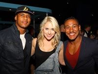 Anthony Volmink (Lions Rugby Player) and Ricky Schroder (Lions Rubgy Player) flanking Kirsty Du Toit