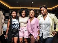 Isibaya actress Florence Mogatsi, Scandal actress Pasi Koetle, Isibaya actress Lorraine Mphephi and partner